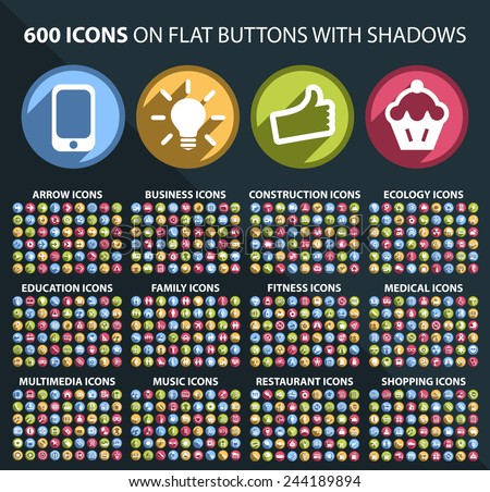 Set of 600 Universal and Standard White Icons on Flat Circular Colored Buttons with Shadows on Black Background ( isolated elements ) - stock vector