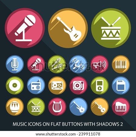 Set of Universal and Standard White Music Icons on Flat Circular Colored Buttons with Shadows 2 on Black Background ( isolated elements ) - stock vector