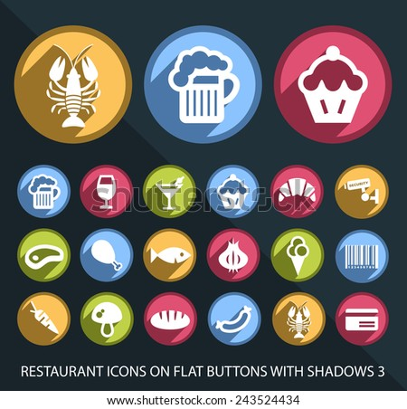 Set of Universal and Standard White Restaurant Icons on Flat Circular Colored Buttons with Shadows on Black Background 2 ( isolated elements ) - stock vector