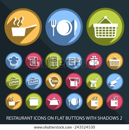 Set of Universal and Standard White Restaurant Icons on Flat Circular Colored Buttons with Shadows on Black Background 3 ( isolated elements ) - stock vector