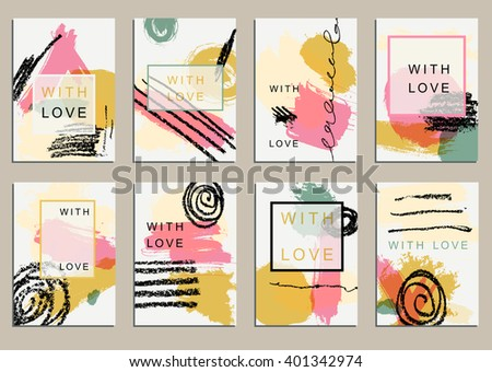 Set of universal cards. Hand Drawn textures.  Design for banner, poster  invitation placard brochure flyer. Vector. Isolated. - stock vector