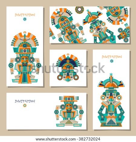 Set of 5 universal cards with Aztec and Maya Ceremonial Sculptures. Template. Party, birthday, holiday. Vector illustration - stock vector