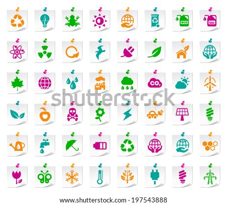 Set of 48 Universal Colored Flat Simple Funny Ecology Icons on Notepaper. - stock vector
