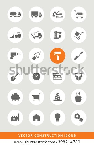 Set of 24 Universal Construction Icons. Isolated Elements. - stock vector