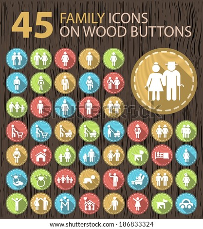 Set of 45 Universal Contemporary Flat Multimedia White Icons on Wood Vintage Buttons. - stock vector