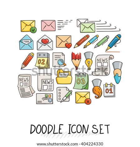 Set of Universal Doodle Icons. Bright Colors and Variety of Topics. Letters, Calendars, News, Mail, Stationery. - stock vector