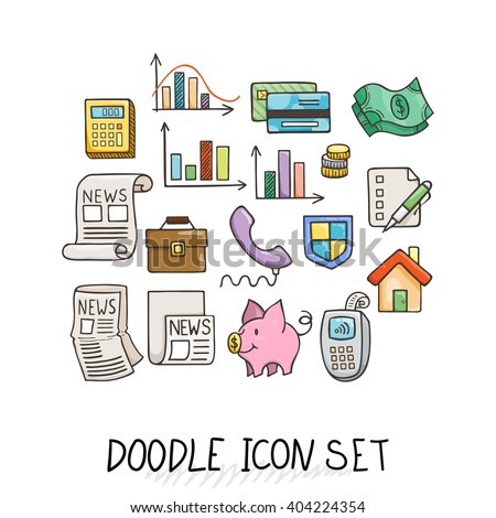 Set of Universal Doodle Icons. Bright Colors and Variety of Topics. Protection and Money. - stock vector