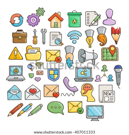 Set of Universal Doodle Icons. Bright Colors and Variety of Topics. Web and Money.