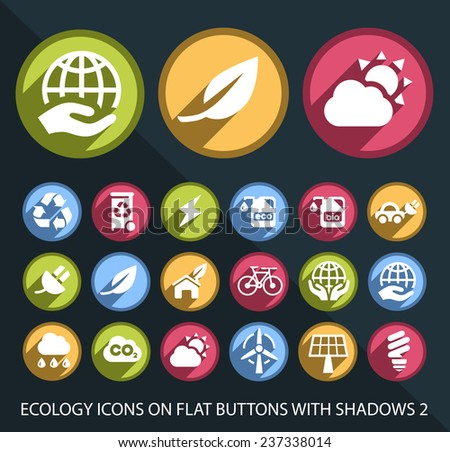 Set of Universal Ecology Icons on Flat Circular Colored Buttons with Shadows 2 on Black Background (isolated elements) - stock vector