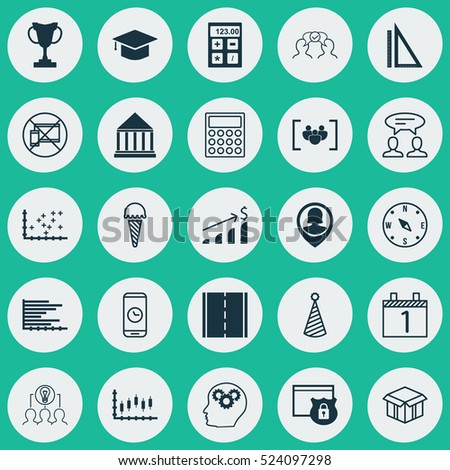 Set Of 25 Universal Editable Icons. Can Be Used For Web, Mobile And App Design. Includes Elements Such As Plot Diagram, Graduation, Questionnaire And More.