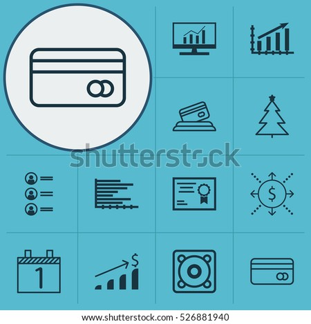 Set Of 12 Universal Editable Icons. Can Be Used For Web, Mobile And App Design. Includes Elements Such As Certificate, Credit Card, Plastic Card And More.