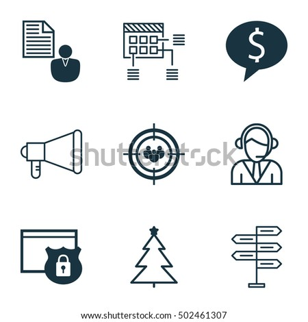 Set Of 9 Universal Editable Icons. Can Be Used For Web, Mobile And App Design. Includes Icons Such As Operator, Decorated Tree, Report And More.