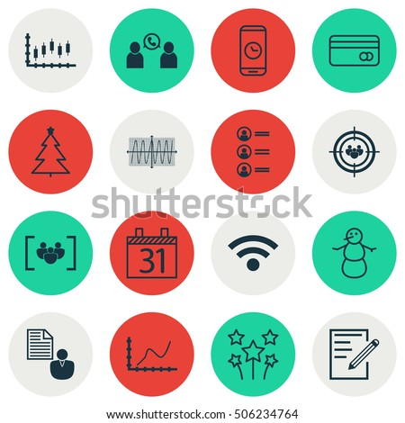 Set Of 16 Universal Editable Icons. Can Be Used For Web, Mobile And App Design. Includes Icons Such As Cosinus Diagram, Job Applicants, Wireless And More.
