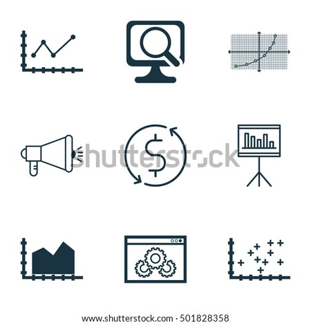Set Of 9 Universal Editable Icons For Marketing, Statistics And Traveling Topics. Includes Icons Such As Laptop, Money Trasnfer, Changes Graph And More.