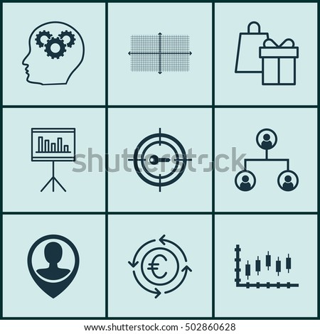 Set Of 9 Universal Editable Icons For Project Management, Travel And SEO Topics. Includes Icons Such As Currency Recycle, Shopping, Keyword Marketing And More.
