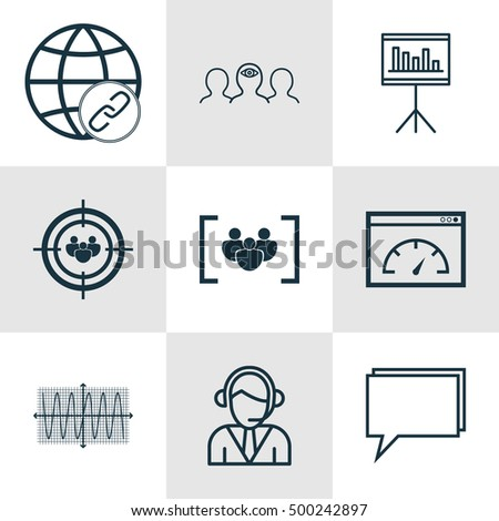 Set Of 9 Universal Editable Icons For Statistics, Project Management And Business Management Topics. Includes Icons Such As Connectivity, Questionnaire, Coaching And More.
