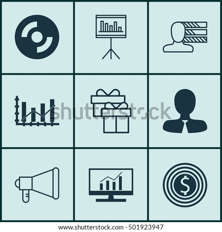 Set Of 9 Universal Editable Icons For Transportation, Statistics And Project Management Topics. Includes Icons Such As Business Goal, Personal Skills, Announcement And More.