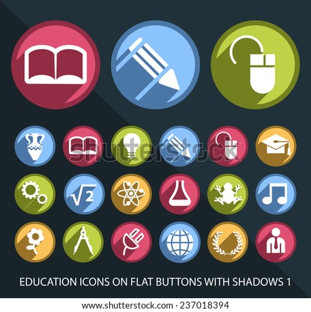 Set of Universal Education Icons on Flat Circular Colored Buttons with Shadows 1 on Black Background (isolated elements)