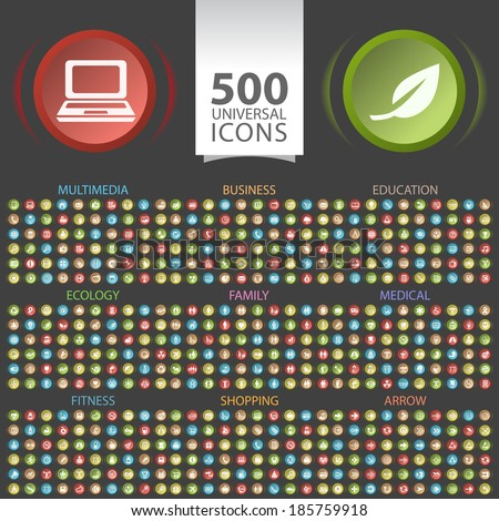 Set of 500 Universal Flat Icons on Circular Buttons (multimedia, business, ecology, education, family, fitness, medical, arrow, and shopping icons) on Black Background. - stock vector