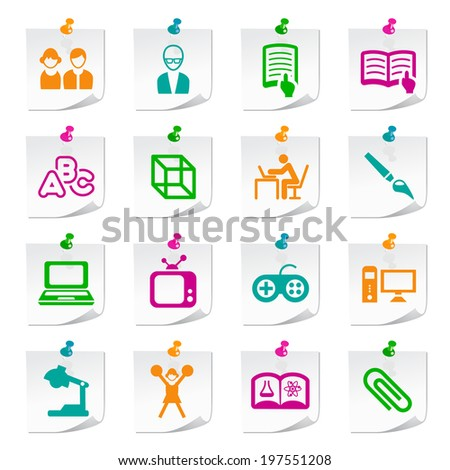 Set of Universal Flat Simple Ecology Icons on Square Colored Notepaper Buttons 3. - stock vector