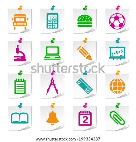 Set of Universal Flat Simple School Icons on Square Colored Notepaper Buttons on Notepaper 1.