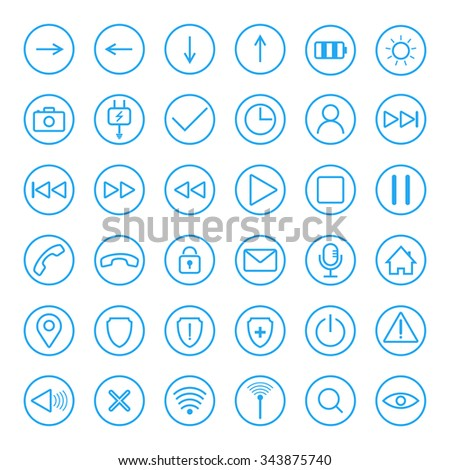 Set of universal icons for web and mobile - stock vector