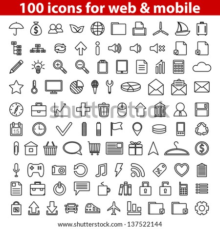 Set of 100 universal icons for web and mobile. Vector illustration. - stock vector