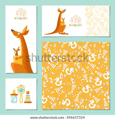 Set of 4 universal invitation cards with a kangaroo and a baby kangaroo. Template. Party, birthday, baby shower. Vector illustration - stock vector
