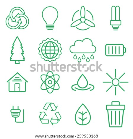 Set of universal modern thin line Ecology icons for web and mobile - stock vector
