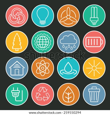 Set of universal modern thin line Ecology icons for web and mobile on colorful background - stock vector