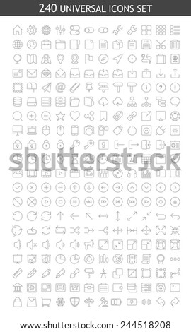 Set of 240 universal modern thin line icons for web and mobile - stock vector