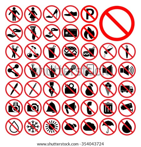 Set of universal prohibition symbols. - stock vector