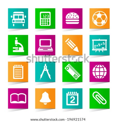 Set of Universal School Icons on Square Colored Buttons on White Background.