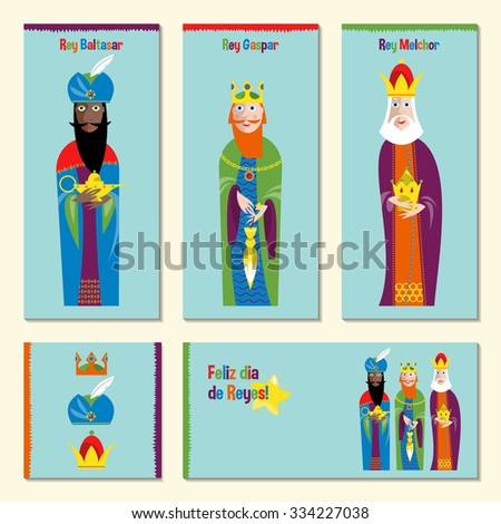 Set of 5 universal spanish language Christmas greeting cards with three kings. Feliz dia de reyes. (Happy Three Kings Day!). Three wise men. Template. Vector illustration. - stock vector