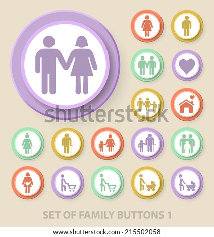 Set of Universal Standard Family Icons on Elegant Modern Three-dimensional Colored Circular Buttons on Colored Background 1. - stock vector