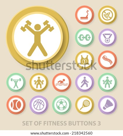 Set of Universal Standard Fitness Icons on Elegant Modern Three-dimensional Colored Circular Buttons on Colored Background 3. - stock vector