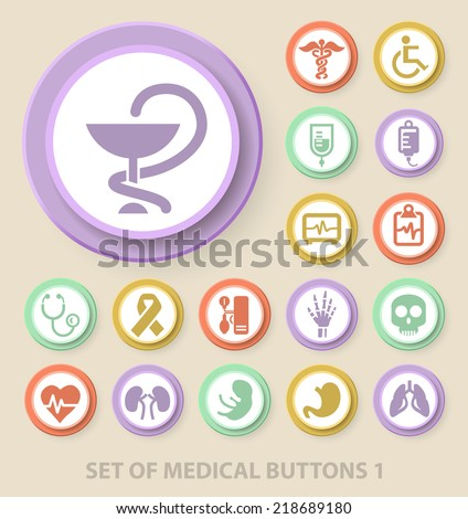 Set of Universal Standard Medical Icons on Elegant Modern Three-dimensional Colored Circular Buttons on Colored Background 1. - stock vector