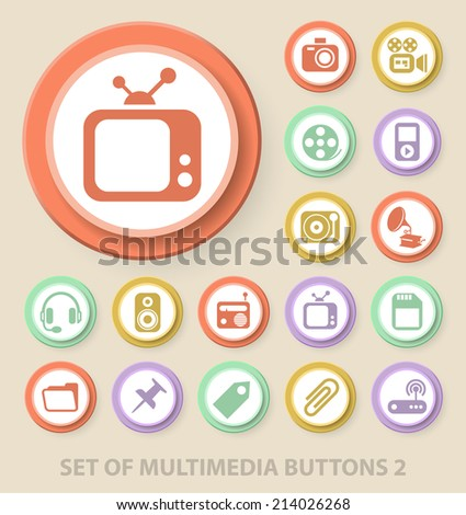 Set of Universal Standard Multimedia Icons on Elegant Modern Three-dimensional Colored Circular Buttons on Colored Background 2. - stock vector