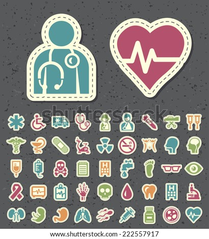Set of 45 Universal Standard New Color Medical Icons Paper Cut Style on Black Background.