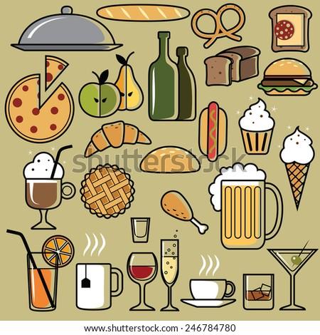 Set of Universal Standard New Flat Isolated Restaurant Icons. Restaurant Icons. Vector illustration - stock vector