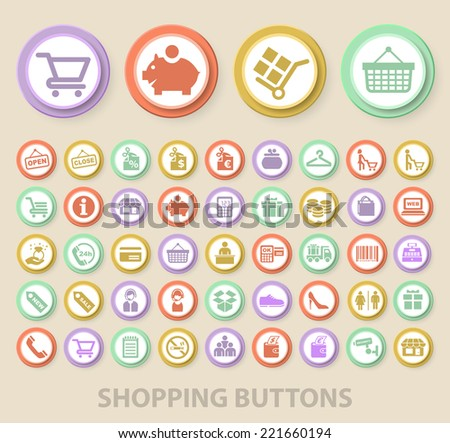 Set of Universal Standard Shopping Icons on Elegant Modern Three-dimensional Colored Circular Buttons on Colored Background. - stock vector