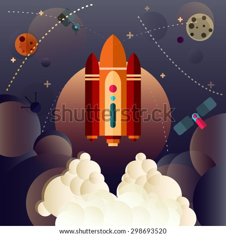 Set of Universe Infographics - Solar system, Planets comparison, Sun and Moon Facts, Space Junk made by man, Big Bang Theory, Galaxies Classification, Milky Way description.  - stock vector