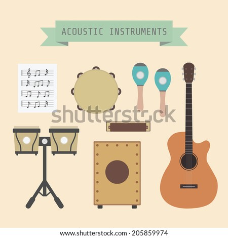 set of unplug musical instrument and sign, flat style - stock vector