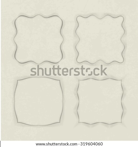 Set of 4 unusual frames in cut of paper style on aged background - stock vector