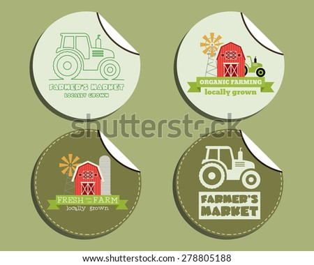 Set of unusual green organic labels - stickers for natural shop, farm products. Ecology theme. Eco design. Vector illustration - stock vector