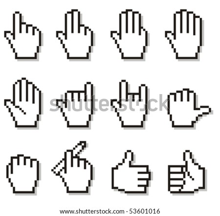 Set of unusual pixelated hand icons. - stock vector