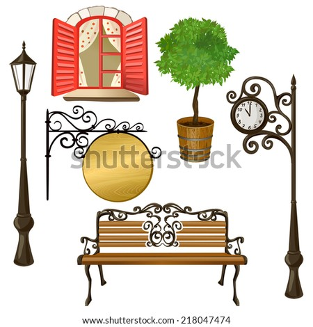set of urban elements isolated. vector illustration - stock vector