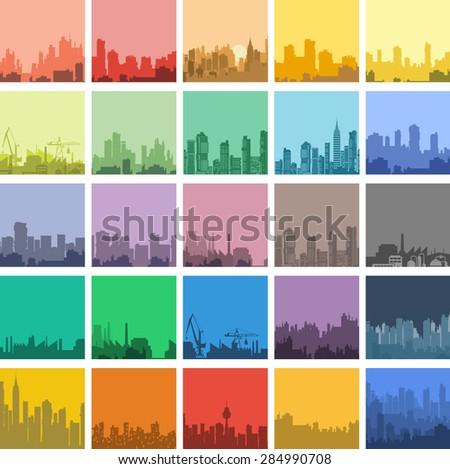 Set of urban landscapes in a flat style.