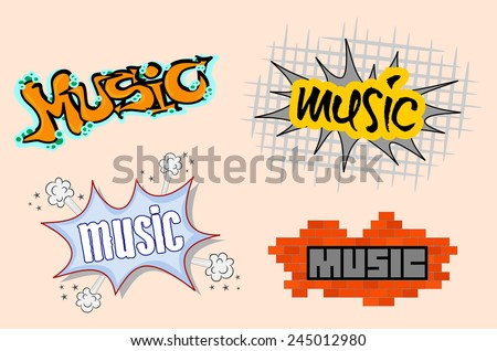 Set of urban music cool spray graffiti style illustration. Four colorful graphic design of music graffitti sketchy text on the street wall. vector art image, isolated on beige background - stock vector