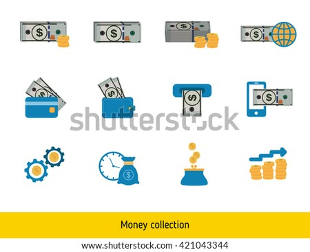 Set of USA Dollar. Banknote and coin of dollar.  - stock vector